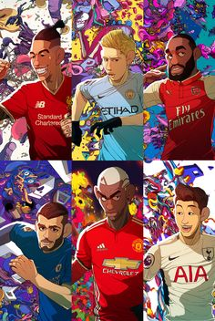 Four Four Two cover illustration in relation with EPL Premier league Epl Football, Best Football Players, Football Is Life, Football Art, Soccer Players, Football Player Drawing, Soccer Drawing, Soccer Memes, Football Memes