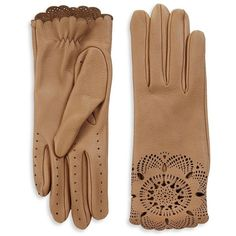 Burberry Prorsum The Primrose Leather Lace Gloves ($835) ❤ liked on Polyvore featuring accessories, gloves, apparel & accessories, camel, burberry, burberry gloves, lace gloves and leather gloves