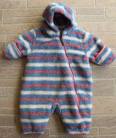 f46f88338 Hatley Baby Girls 6 12 Months Bunting Snowsuit Blue White Pink Striped Fuzzy