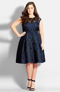 Lace Neck Brocade Dress (Plus Size)