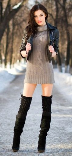 Killer fall style: knitted sweater dress, knee high boots with knitted thigh high socks & fitted leather jacket. Love the look, but would def. need a longer dress & maybe some opaque black tights!