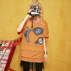 Elf Sack female summer appliques short-sleeved round neck oversized women shirt | elfsack