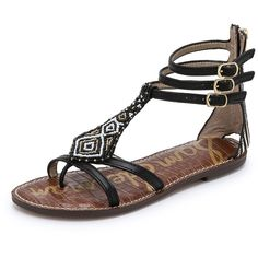 Sam Edelman Giselle Beaded Sandals ($30) ❤ liked on Polyvore featuring shoes, sandals, t strap thong sandals, toe thong sandals, zipper shoes, beaded shoes and zebra print shoes