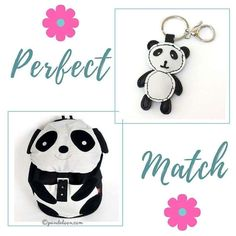 This is definitely a perfect match! A cute panda bear canvas backpack with a faux leather panda bear charm. https://pandaloon.com/collections/panda-bags-and-backpacks/products/panda-bear-backpack https://pandaloon.com/collections/accessories/products/faux-leather-panda-bear-purse-key-charm