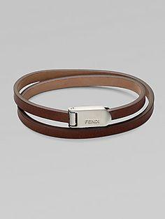 Fendi Wrap-Around Leather Bracelet