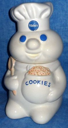 PILLSBURY DOUGHBOY COOKIE JAR Holding cookie jar and mixing spoon 1999     D3