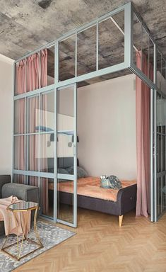 Another great space divider. 🕸 Im looking for more inspiration to transform my new apartment on November. Im considering to divide it with… Room Design Bedroom, Home Room Design, Home Decor Bedroom, Garage Bedroom, Bedroom Loft, Deco Studio, Studio Shoot, Studio Apartment Design, Appartement Design