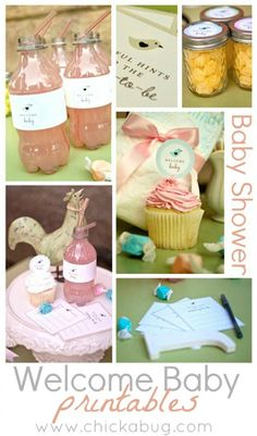 darling cupcake toppers, advice for the mom-to-be, etc. {free printables for baby shower}