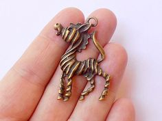 2 Zebra Charms  Antique Brass  Pendants  B0023 by StashofCharms