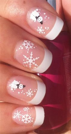 Christmas Nail Art Water Decals Transfers Stickers Snowman & Snowflakes for sale Cute Christmas Nails, Christmas Nail Art Designs, Holiday Nail Art, Xmas Nails, Winter Nail Art, Winter Nails, Christmas Snowman, Snowman Nail Art, Snowflake Nail Art