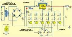 Using this circuit, you can obtain the following voltages (approx.) at a current limited to one ampere: 3.3V, 5V, 6V, 9V, 12V and 15V. The AC mains is stepped down by transformer X1 to deliver the secondary output of 18V AC at a maximum current of 1A dependant upon the load. The transformer output is …