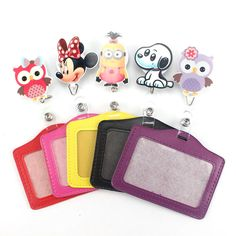 Pretty Cartoon owl Retractable Badge Reel horizontal Style Student Nurse Exihibiton ID Name Card Badge Holder Office Supplies