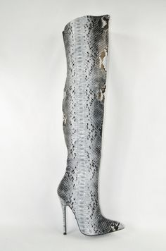 Fierce 11 Gray Black Snake Skin High Heel Pointy Toe Thigh Boot