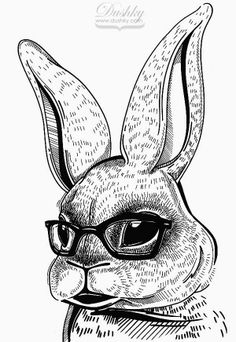 #geek #bunny #illustration by #dushky