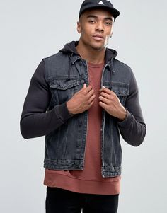 New Look Denim Jacket With Jersey Sleeves In Gray