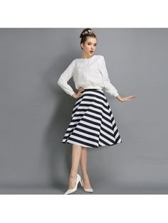 The European Style 2014 Skirt Striped Ball Gown Striped Skirt $12.56