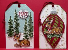 Stampin' Up Home for Christmas Christmas  Tags created by Lynn Gauthier using SU Wonderland and Happy Scenes Stamp Sets, Delicate Ornaments Thinlits Dies and Woodland Embossing Folder.  Go to http://lynnslocker.blogspot.com/2015/11/stampin-up-home-for-christmas-christmas_6.html for details on how to make these tags.