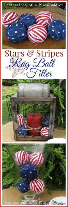 CONFESSIONS OF A PLATE ADDICT: Super Easy Stars and Stripes Rag Ball Filler