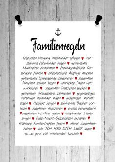 druck familienregeln bunt print poster a4 products print poster and poster. Black Bedroom Furniture Sets. Home Design Ideas