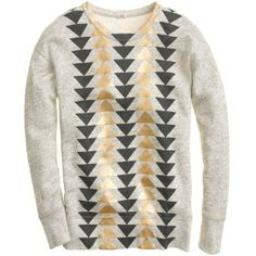 J.Crew Vintage sweatshirt in metallic triangles ($65) found on Polyvore