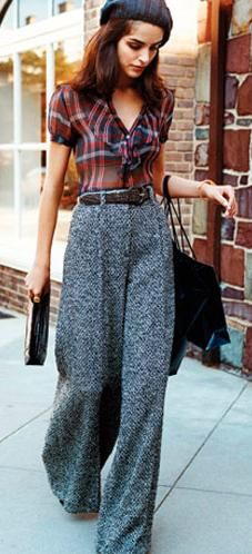 I like the plaid blouse and hat. The pants are a little too high-wasted for my style, but other than that cute.