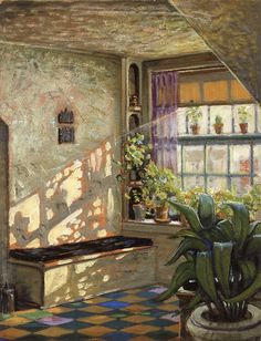 Grant Wood (American painter) The sun shine on the corner 1928 Grant Wood, Sunshine Studio, American Artists, Windows And Doors, Painting & Drawing, Landscape Paintings, Still Life, Cool Art, Drawings