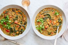 quinoa and lentil curry with coconut and cilantro
