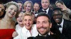"This image released by Ellen DeGeneres shows actors, front row from left, Jared Leto, Jennifer Lawrence, Meryl Streep, Ellen DeGeneres, Bradley Cooper, Peter Nyongâo Jr. and, second row, from left, Channing Tatum, Julia Roberts, Kevin Spacey, Brad Pitt, Lupita Nyongâo and Angelina Jolie as they pose for a ""selfie"" portrait on a cell phone during the Oscars at the Dolby Theatre on Sunday, March 2, 2014, in Los Angeles."