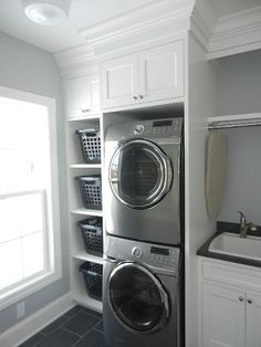 Excellent small laundry room ideas stackable washer dryer #laundryroom #laundryroomideas #small #laundryroomstorage #laundryroomdecor