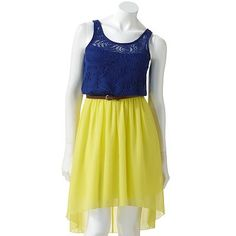 available at kohls right now!  hello!  if this doesnt SCREAM disney princess, idk what does!  :)  @Andrea Eastman  @Amber Henry Ploetz  City Triangles Hi-Low Mixed-Media Dress - Juniors