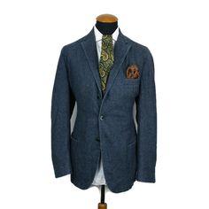 Lubiam Slim Blazer size 44R Wool Unconstructed Sport Coat Blue Casual D 54