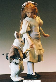 Alice and white Rabbit Charlotte Web Costume, Acrylic Paint Bottles, Alice Liddell, Alice In Wonderland Tea Party, Through The Looking Glass, Doll Maker, Rabbit Hole, Catwoman, Anton