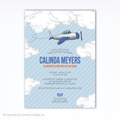Airplane Baby Shower Invitation, Vintage Plane Baby Shower Invitation, Airplane  Baby Shower
