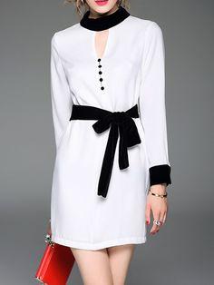 #AdoreWe TOOTANG Crew Neck Long Sleeve Elegant Shirt Dress - AdoreWe.com