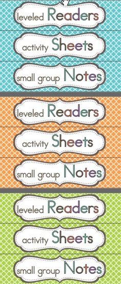 organization labels for guided reading - organize leveled readers,weekly pages, and small group resources 2nd Grade Teacher, 2nd Grade Classroom, Math Classroom, Classroom Organization, Classroom Management, Classroom Ideas, Behavior Management, Wonders Reading Programs, Wonders Reading Series