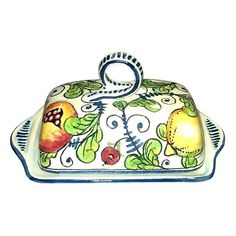 CERAMICHE D'ARTE PARRINI- Italian Ceramic Butter Dish Hand Painted Made in ITALY Tuscan Art Pottery. ( Notes : we need 10 days to make this item)--Ceramic Butter Dish . Decorations : Branches of lemon , pomegranates, figs on a white ivory frame with blue curls of old. Net weight Kg.0,600, Dimensions: 8,26 inch x 5,11 inch-- All our products are lead-free and can be used for foods, can go in the dishwasher and in the microwave-You can ask any other customization, buy directly from the...