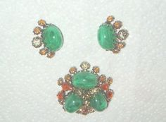 VINTAGE HUGE DOMED SCHREINER NEW YORK GREEN & AMBER PANDANT BROOCH EARRING SET | eBay