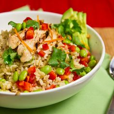Light Citrus Chicken with Edamame and Brown Rice by foodiebride, via Flickr