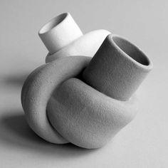Takayuki Sakiyama 2013 Claytwist, Black and white knotted Minimalism Sculpture Twisted