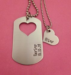 Dog Tag with Heart Cut Out Hers with a date and by One27Designs