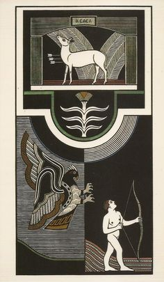 """Samico, A caça (2003), xilogravura 92,7x47,4 cm. Reprodução fotográfica do catálogo da exposição """"Samico: do desenho à gravura"""", Pinacoteca do Estado de São Paulo, 2004."""