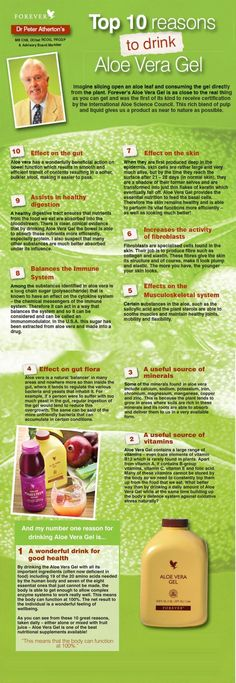 Top 10 Reasons to Drink Aloe Vera Gel by Dr Peter Atherton Shop online www.gerborah-forever.myforever.biz/store