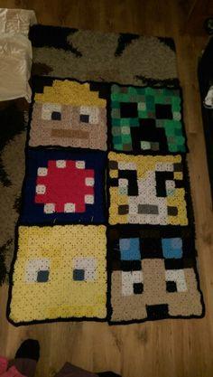 Minecraft crochet blanket for my sons room