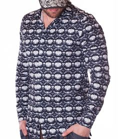 Dolce & Gabbana Shirt Crown - Navy Color: white Slim fit Patterned crown fabric Lined collar and placket Fabric: Cotton Sizing: Model is and. Dolce & Gabbana, Navy Color, Long Sleeve Shirts, Men Sweater, Crown, Designer Clothing, Fit, Fabric, Pattern