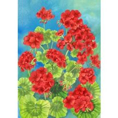 """Scarlet Geraniums"" Printed Seasonal Garden Flag; Polyester 12""x18"" #summertime #summer #banners #gardenflags #flagsaflying"