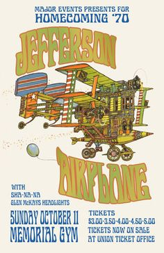 ☮ American Hippie Rock Music Art ~ Jefferson Airplane 1970 Kent State Concert Poster