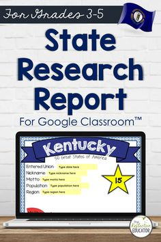 Digital State Research | KENTUCKY for Google Classroom™ | Distance Learning is a 5-day lesson plan for upper elementary students. Students conduct an online research project about the state to find information about symbols, the flag, and other basic facts. This resource is compatible with Google Classroom and for distance learning. KENTUCKY Digital State Research Project is easy for teachers and engaging for students. 4th Grade Social Studies, Social Studies Classroom, Social Studies Activities, Physical Activities, Lesson Plan Outline, Research Projects, Upper Elementary, Elementary Education, Google Classroom