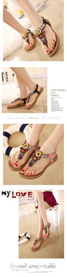 Women's Vogue Beach Beaded Sandals  #sandal #beadedsandal #omgnb #vogueshoe