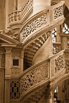 Spiral Staircase, Saint Etienne-Du-Mont, Paris, France I should redo the stairs to my studio. Beautiful Stairs, Beautiful Buildings, Beautiful Places, Grand Staircase, Staircase Design, White Staircase, Grande Cage D'escalier, Architecture Cool, French Architecture