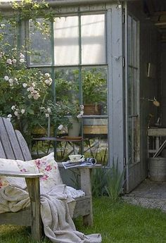 Tea break at the potting shed - THIS WOULD DEFINITELY BE 'MY SPECIAL PLACE' TO SIT, ENJOY A CUP OF COFFEE, ADMIRE THE WORK I HAD ACHIEVED & SIMPLY PONDER.........